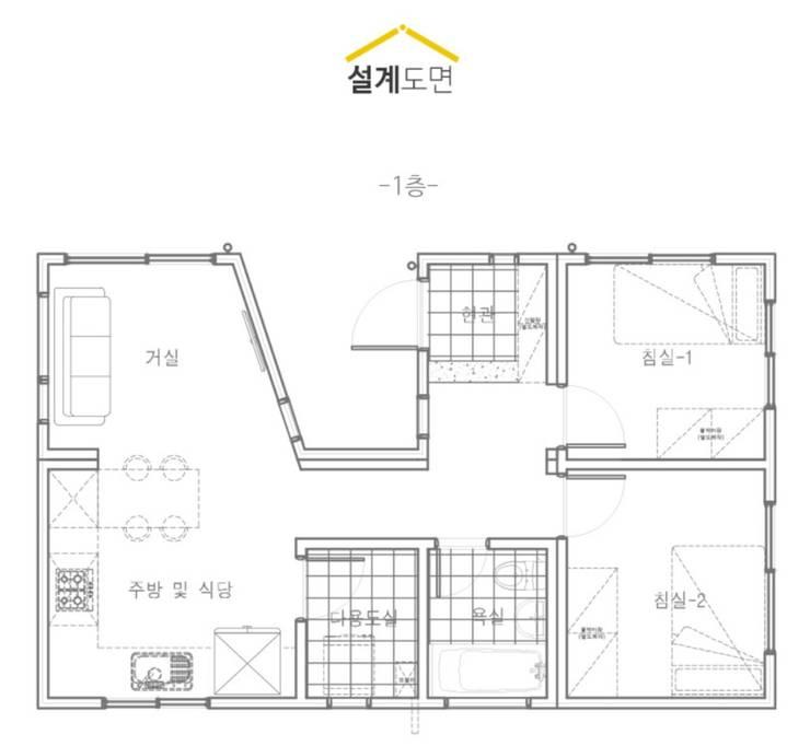 Chalets & maisons en bois de style  par 공간제작소(주), Moderne Bois Effet bois