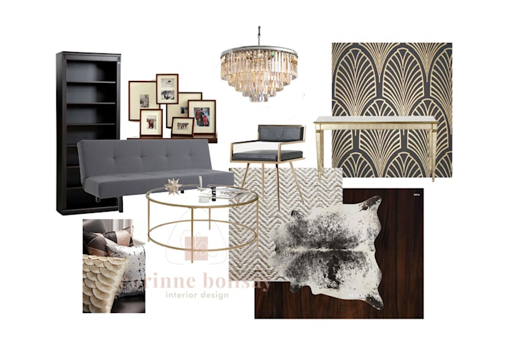 Mood board for Art Deco-inspired Living Room:  Living room by Interiors by Corinne Bolisay