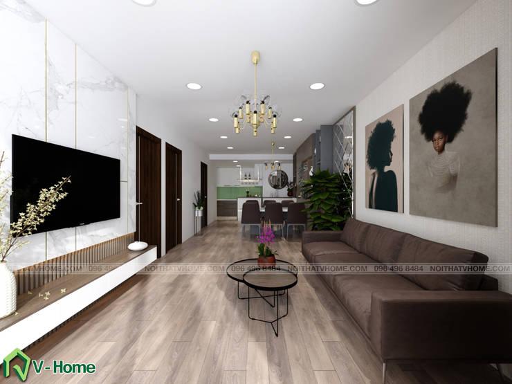 Không gian phòng khách:  Living room by Công ty CP tư vấn thiết kế và xây dựng V-Home