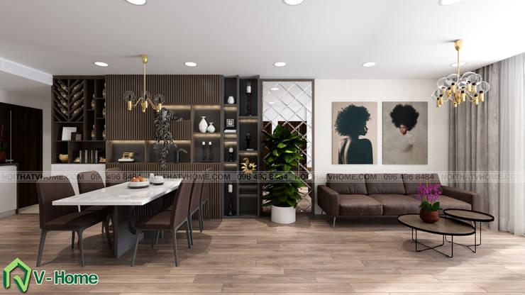 Nội thất phòng khách:  Living room by Công ty CP tư vấn thiết kế và xây dựng V-Home