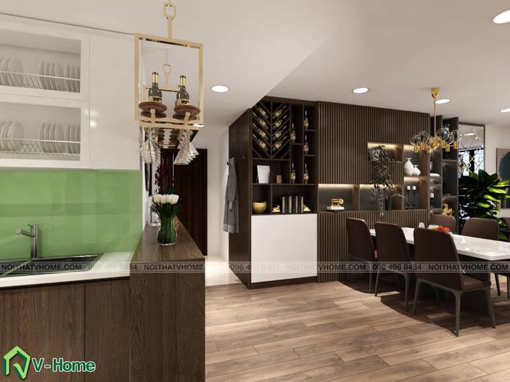 Bàn ăn và bếp:  Kitchen by Công ty CP tư vấn thiết kế và xây dựng V-Home