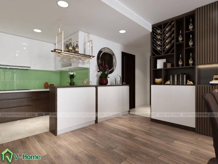 Bàn Bar nhà bếp:  Kitchen by Công ty CP tư vấn thiết kế và xây dựng V-Home