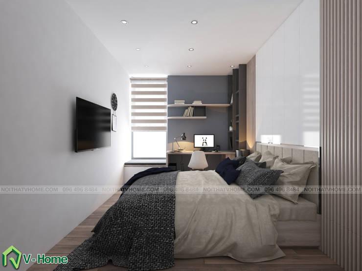 Phòng ngủ master:  Bedroom by Công ty CP tư vấn thiết kế và xây dựng V-Home