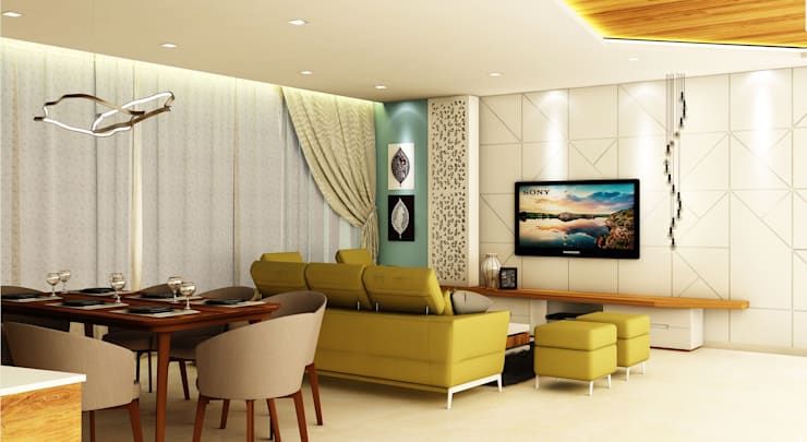 3BHK @ OBEROI ESQUIRE:  Living room by Midas Dezign