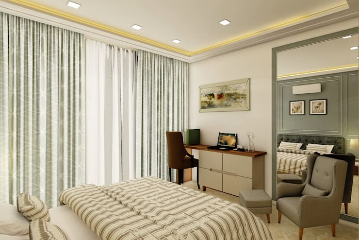 3BHK @ OBEROI ESQUIRE:  Bedroom by Midas Dezign