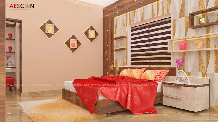 Bedroom by Aescon Builders and Architects, Asian