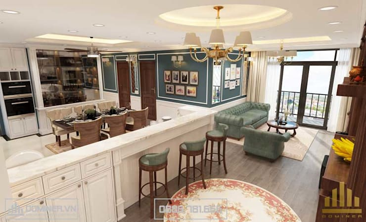 Tổng thể thiết kế căn hộ:   by Thiết kế - Nội thất - Dominer