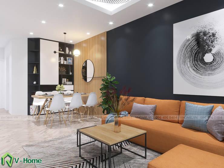 Phòng khách:  Living room by Công ty CP tư vấn thiết kế và xây dựng V-Home