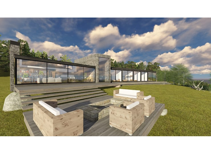 CASA O-P: Casas de madera de estilo  por Pro Aus Arquitectos
