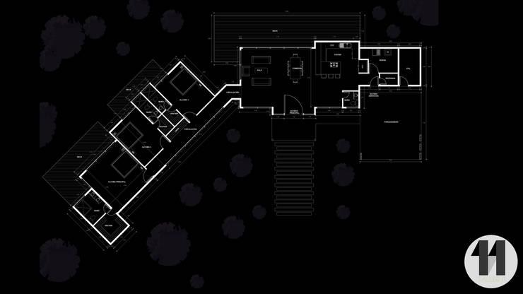 Planimetría:  de estilo  por Taller Once Arquitectura, Moderno