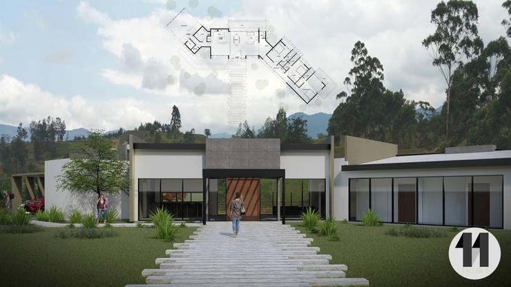 Imagen principal + planimetría: Casas de estilo  por Taller Once Arquitectura