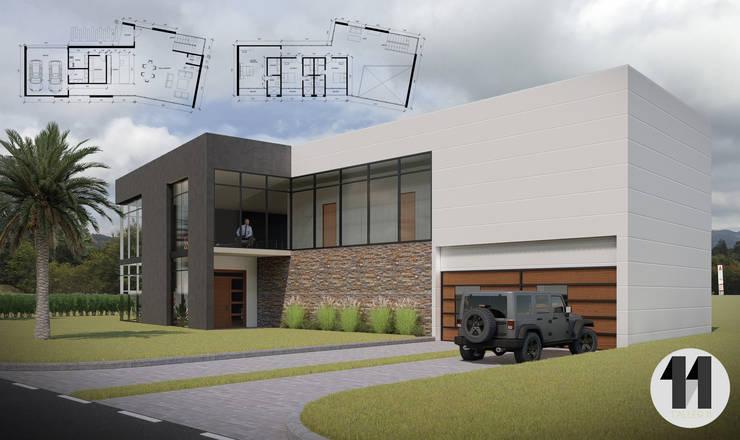 Imagen Principal + Planimetría: Casas de estilo  por Taller Once Arquitectura, Moderno