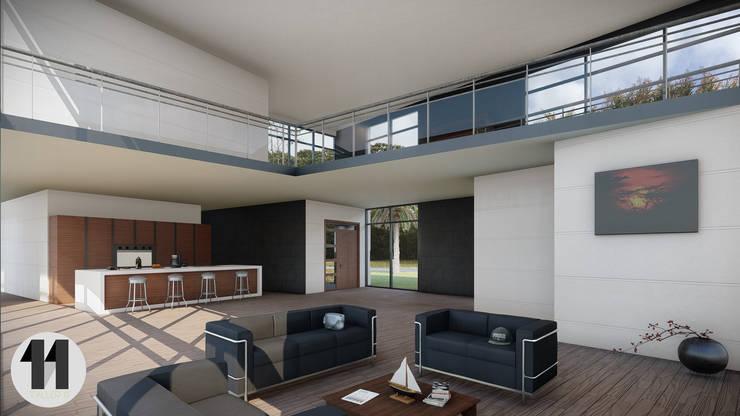 Render Interior:  de estilo  por Taller Once Arquitectura