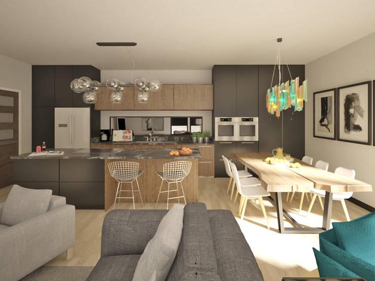 Apartamento modelo para Owl Media:  de estilo  por Cares Studio, Escandinavo