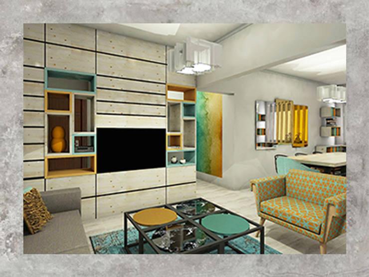Aylin Kaplan Mimarlık – Moda Konut:  tarz Oturma Odası