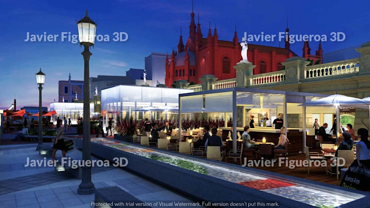 RENDERS EXTERIORES TERRAZAS BUENOS AIRES DESIGN: Shoppings y centros comerciales de estilo  por Javier Figueroa 3D