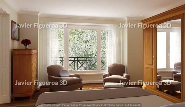 RENDERS INTERIORES DE VIVIENDA EN ACASUSSO: Livings de estilo  por Javier Figueroa 3D,