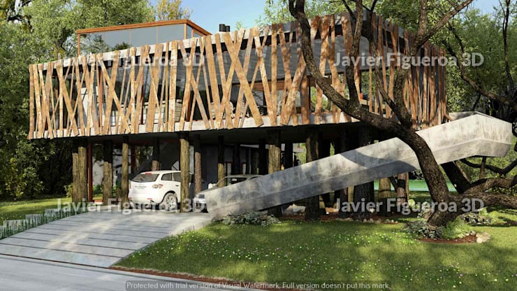 RENDERS EXTERIORES DE VIVIENDA EN BARRIO NORDELTA YATCH: Casas de estilo  por Javier Figueroa 3D,