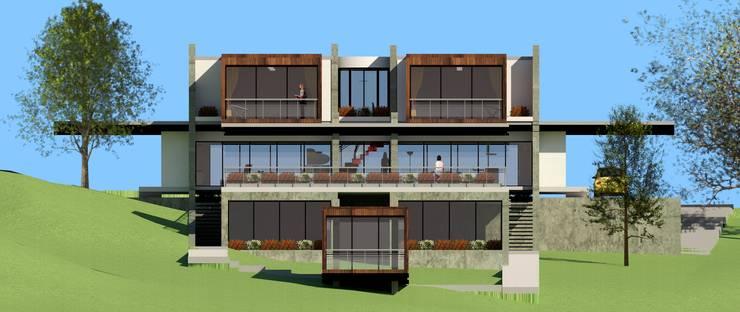 FACHADA SUR de JHONATAN NAVARRO ARQUITECTO Moderno Concreto