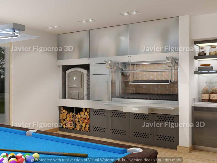 RENDERS INTERIORES DE VIVIENDA EN PILAR: Comedores de estilo  por Javier Figueroa 3D,