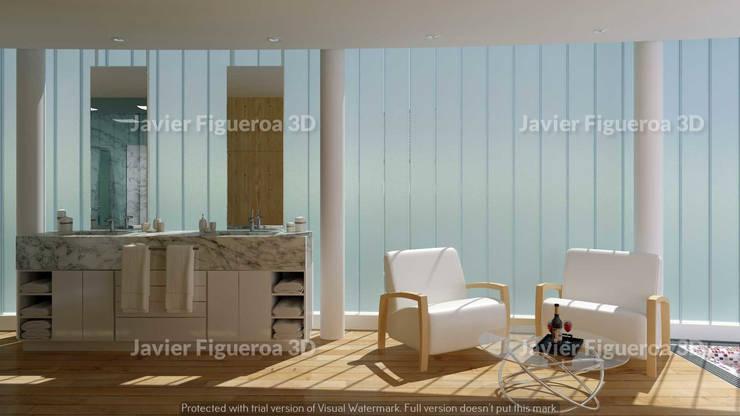 RENDERS INTERIORES DE VIVIENDA EN PILAR: Livings de estilo  por Javier Figueroa 3D,