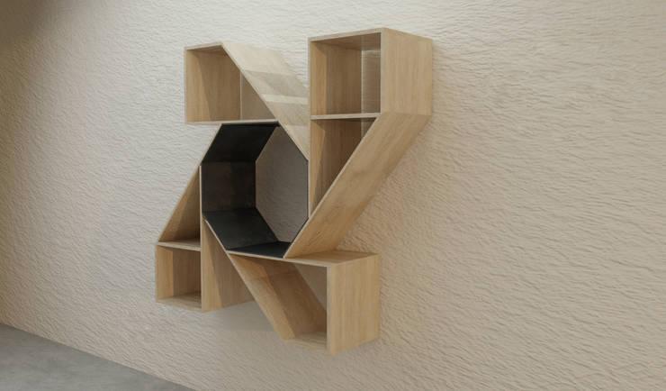 Biblioteca:  de estilo  por Objart, Rústico Madera Acabado en madera