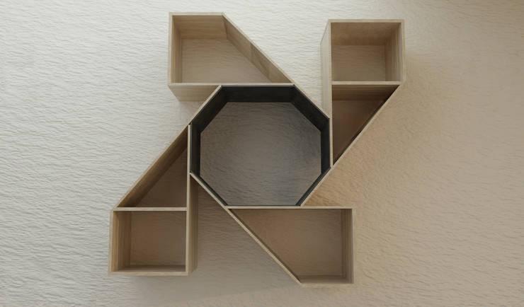 Estante – Biblioteca centrífuga:  de estilo  por Objart, Rústico