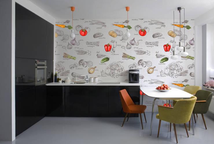 Cocinas pequeñas de estilo  por Kromart Wallcoverings - Papel Tapiz Personalizado , Moderno