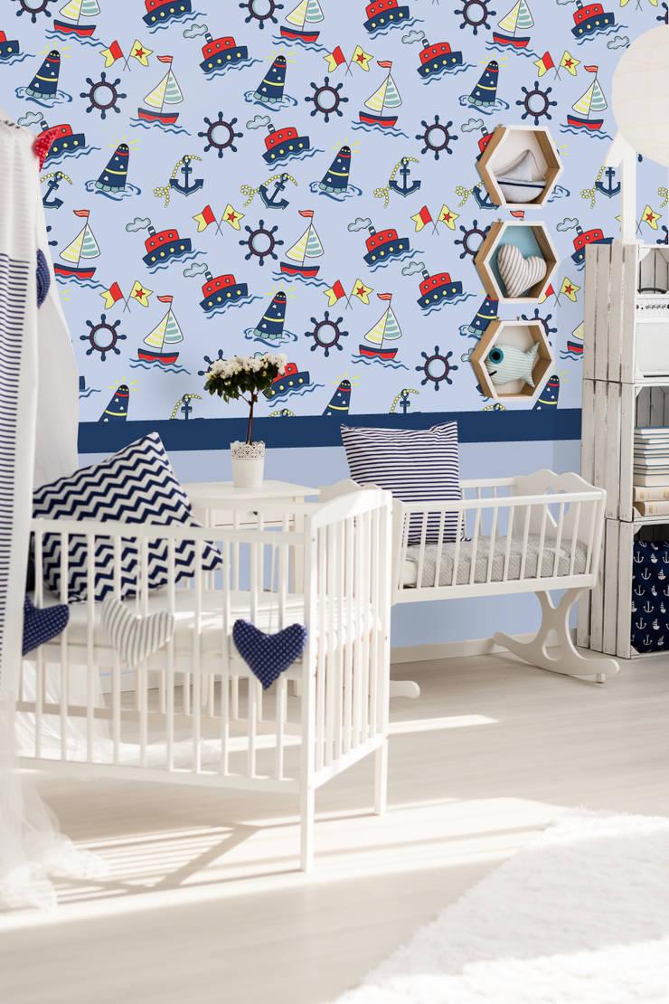 Cuartos para bebés de estilo  por Kromart Wallcoverings - Papel Tapiz Personalizado , Moderno