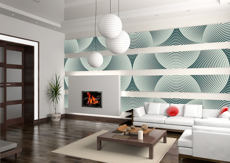 Salas de estilo  por Kromart Wallcoverings - Papel Tapiz Personalizado , Minimalista