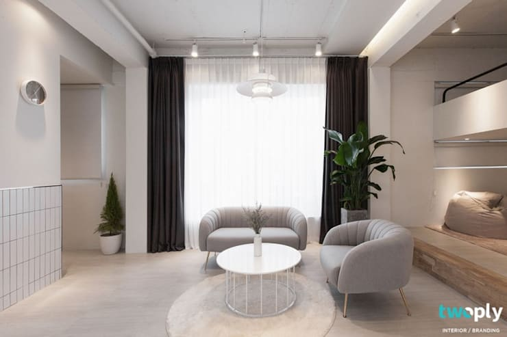 가족을 위한 공간 - 팔레트 (전주 광주 대전 대구 인테리어): 디자인투플라이의  거실,모던