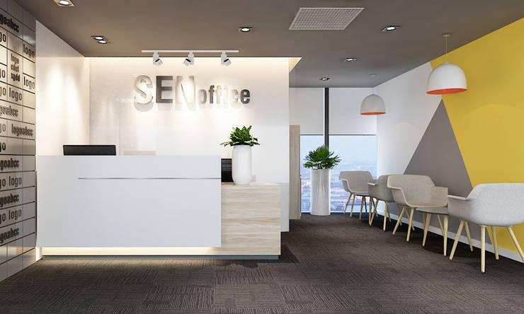 thiết kế nội thất reception văn phòng:  Cửa ra vào by công ty thiết kế văn phòng hiện đại CEEB