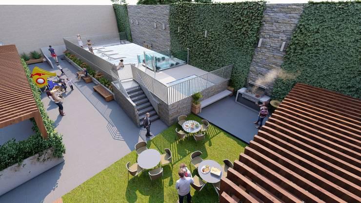 ZONA SOCIAL: Tinas de hidromasaje de estilo  por Constructora Cosenza, Moderno