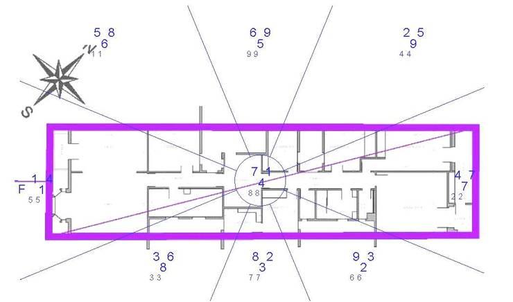 Plano Planta. Xuan Kong Feng Shui. Mapa estrellas volantes o Qi.:  de estilo  de Arpa'Studio Arquitectura y Feng Shui