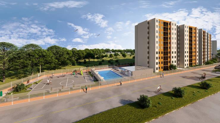 Fachada y zona social: Conjunto residencial de estilo  por Constructora Cosenza