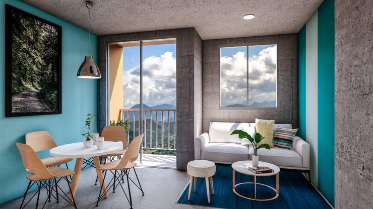 Vista a los farallones de cali: Balcón de estilo  por Constructora Cosenza