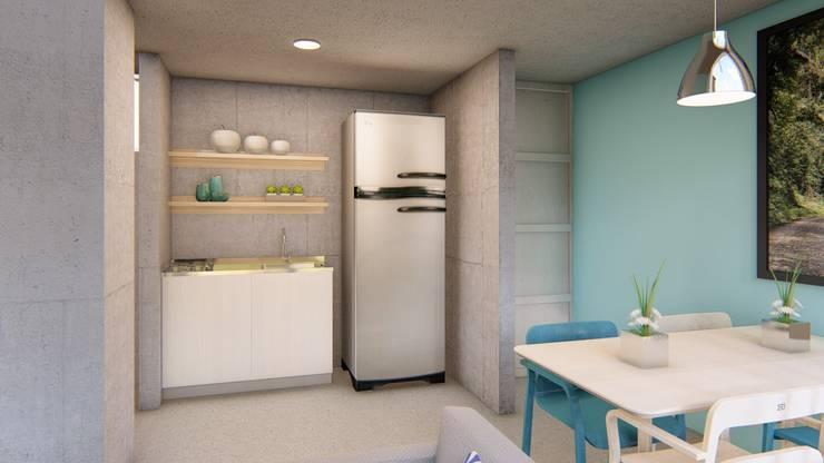 Cocina con estufa, lavaplatos y mueble en madera: Cocinas de estilo  por Constructora Cosenza