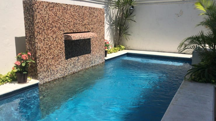 Vista Lateral: Albercas de jardín de estilo  por Arq Eduardo Galan, Arquitectura y paisajismo