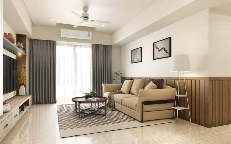沙發背牆:  客廳 by 木博士團隊/動念室內設計制作