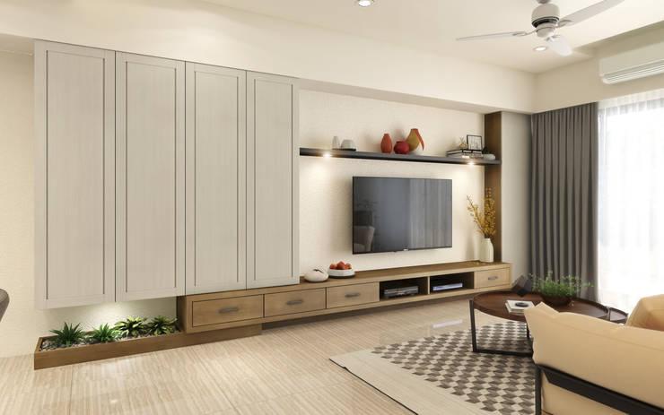 系統電視櫃:  客廳 by 木博士團隊/動念室內設計制作