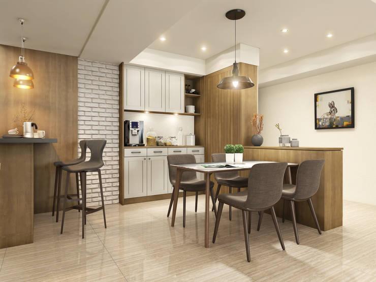 餐廳  ,文化石:  餐廳 by 木博士團隊/動念室內設計制作