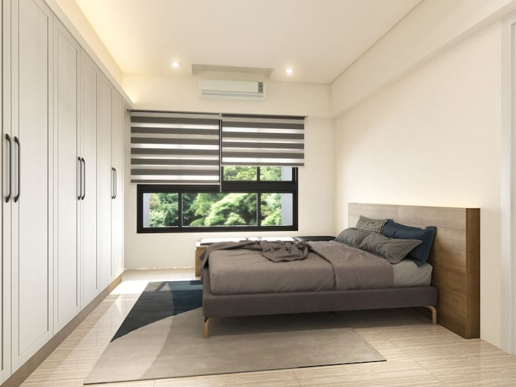 主臥   系統床背板:  臥室 by 木博士團隊/動念室內設計制作