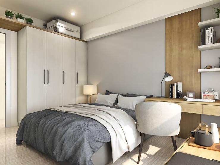 灰色牆面:  臥室 by 木博士團隊/動念室內設計制作