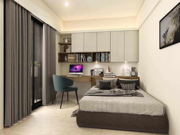 系統床頭櫃,書櫃,書桌:  臥室 by 木博士團隊/動念室內設計制作
