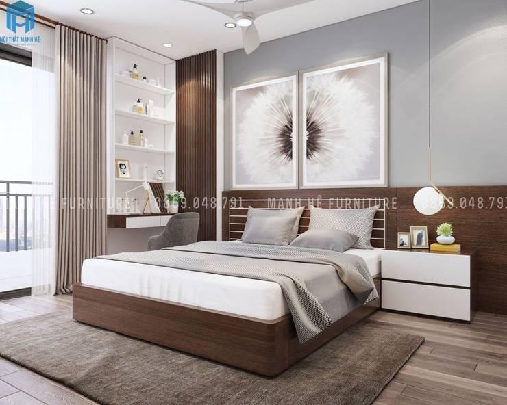Thiết kế nội thất căn hộ chung HaDo Centrosa Garden 86m2 có 2 phòng ngủ - Cô Hồng, Quận 10, TP.HCM:  Phòng ngủ by Công ty TNHH Nội Thất Mạnh Hệ