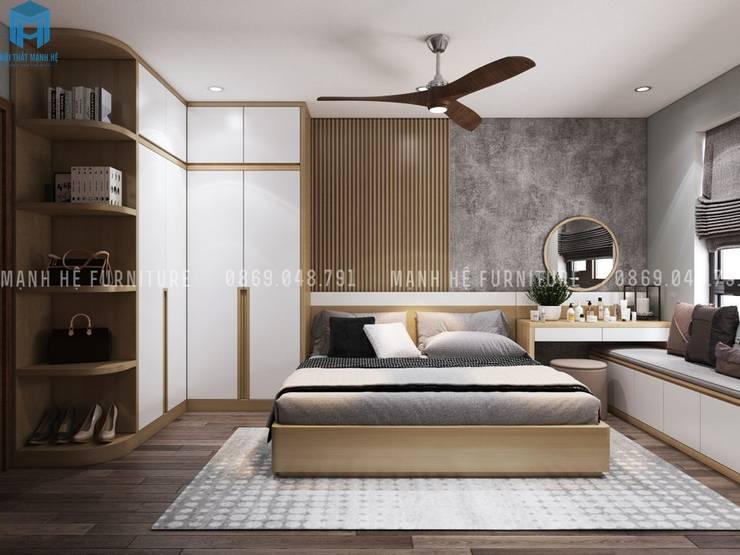Thiết kế nội thất căn hộ chung HaDo Centrosa Garden 86m2 có 2 phòng ngủ – Cô Hồng, Quận 10, TP.HCM:  Phòng ngủ nhỏ by Công ty TNHH Nội Thất Mạnh Hệ