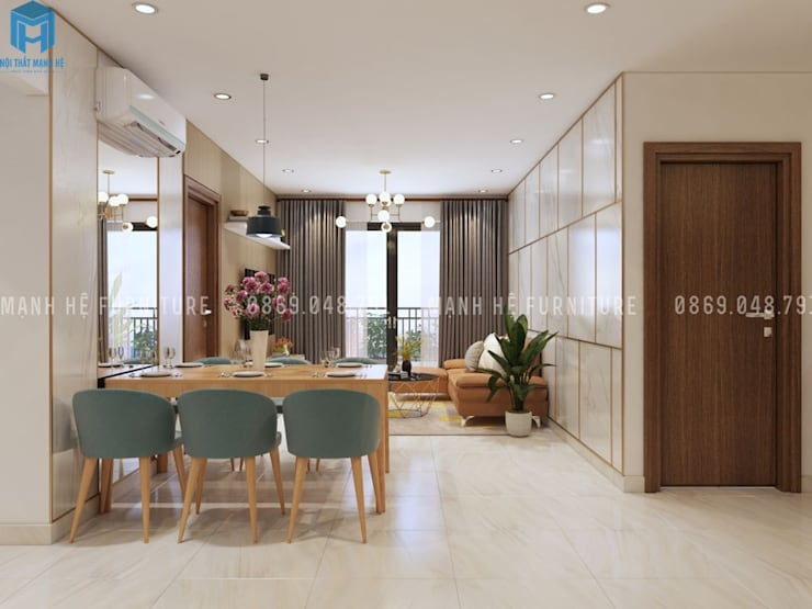 Thiết kế nội thất căn hộ chung HaDo Centrosa Garden 86m2 có 2 phòng ngủ – Cô Hồng, Quận 10, TP.HCM:  Phòng khách by Công ty TNHH Nội Thất Mạnh Hệ