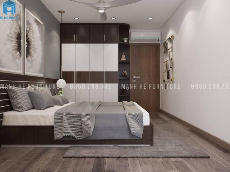 Thiết kế nội thất căn hộ chung HaDo Centrosa Garden 86m2 có 2 phòng ngủ – Cô Hồng, Quận 10, TP.HCM:  Phòng ngủ by Công ty TNHH Nội Thất Mạnh Hệ