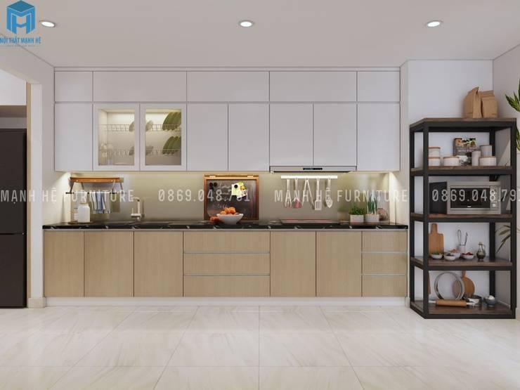 Thiết kế nội thất căn hộ chung HaDo Centrosa Garden 86m2 có 2 phòng ngủ – Cô Hồng, Quận 10, TP.HCM:  Nhà bếp by Công ty TNHH Nội Thất Mạnh Hệ
