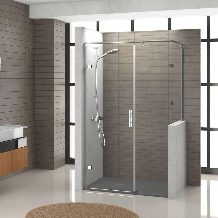 Ducha independiente con puerta abatible: Baños de estilo  de Banium-Reformas del Hogar